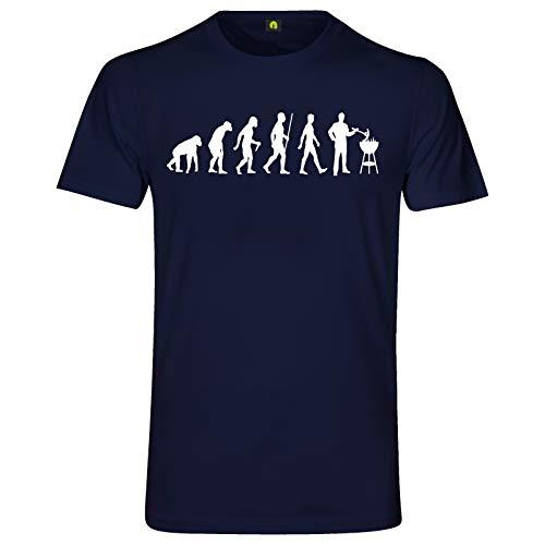 Evolution Grillen T-Shirt | Grill | Barbecue | Brutzler | Fleisch | Steak Navy Blau L