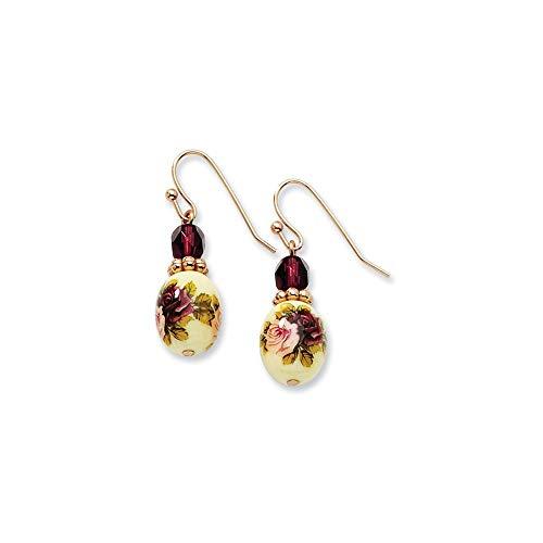 Rosa-tono oscuro con cristales de color morado Juego de pendientes de diseño de flores de Vinilo Drop - JewelryWeb