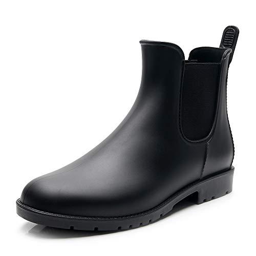 [Tomorrow's star] レインシューズ レディース レインブーツ 雨靴 サイドゴア 晴雨兼用 ブラック 24.0~24.5cm