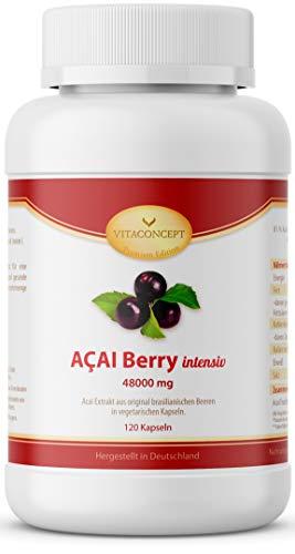 ACAI Beeren 48000 mg - Höchstmögliche Dosierung 30:1 Extrakt - Das Original aus Brasilien - 120 ACAI Kapseln Made in Germany - VITACONCEPT
