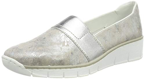 Rieker Damen 53781-91 Slipper, Silber (Rose-Metallic 91), 40 EU
