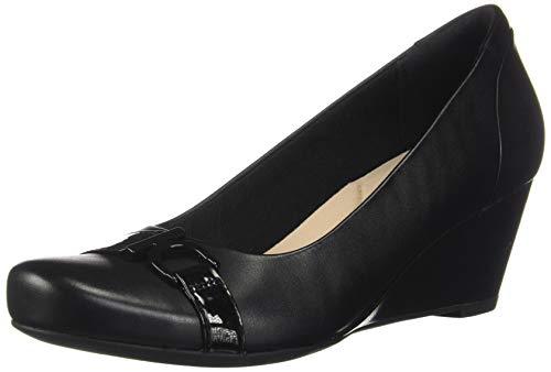 Price comparison product image CLARKS Women's Flores Poppy Black Leather 9 Wide US