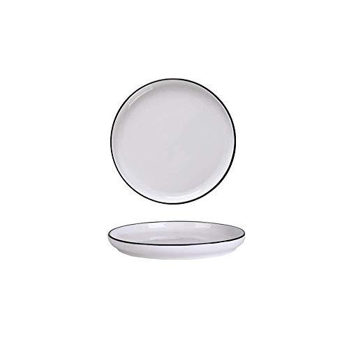 XUSHEN-HU cerámica Europa nórdica hogar vajilla de cerámica Simple Negro Negro Blanco L Placa de los Cubiertos de 8 Pulgadas Clásico
