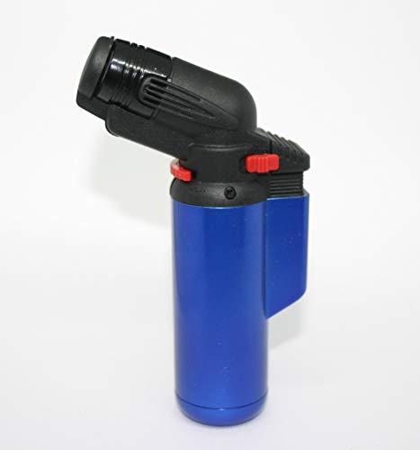 PROF Gummi Fatboy Power Jet Flame Feuerzeug Gas elektronische hohe Kapazität nachfüllbar (Blau)