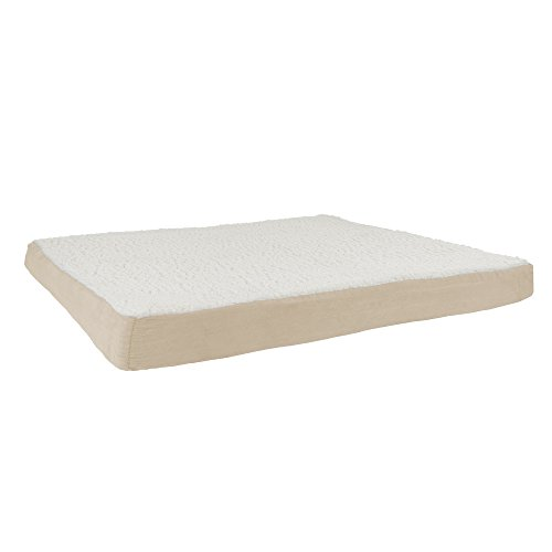 PETMAKER Orthopedic Sherpa Top Pet Bed with Memory Foam and Removable Cover 44x35x4.75 Tan