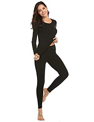 Ekouaer Women's Lightweight Thermal Underwear Long John Set Long Sleeve Top and Bottom Black