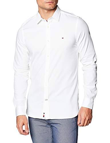 Tommy Hilfiger Herren Slim 4 Way Stretch Dobby Shirt Hemd, White, M