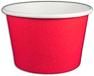 Yocup 8 oz. Solid Red Paper Ice Cream / Frozen Dessert Cup - 100 ct