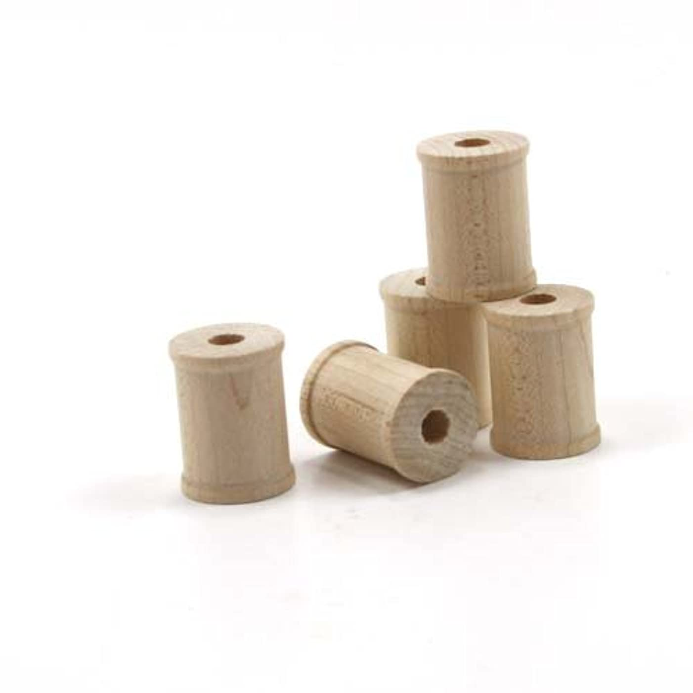 Mylittlewoodshop - Pkg of 25 - Spool - 3/4 inches tall and 5/8 inches wide with 7/32 hole unfinished wood(WW-SP6000-26)
