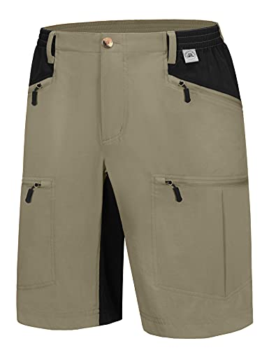 Mapamyumco Men's Quick Dry Lightweight Stretch Hiking Shorts Cargo for Outdoor, Golf, Travel Kelp L
