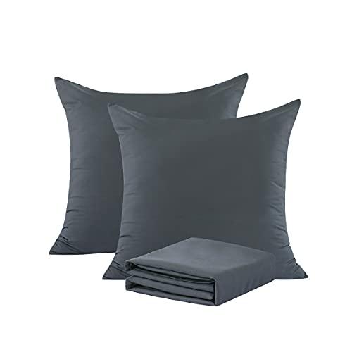 RUIKASI - Juego de 2 fundas de almohada (65 x 65 cm), color gris oscuro