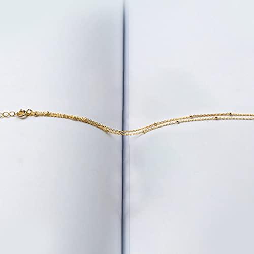 collarGargantilla Modian Simple de 3 Colores para Mujer, Regalo, auténticas Cuentas de Plata, Cadena Desnuda, joyería Fina de Moda
