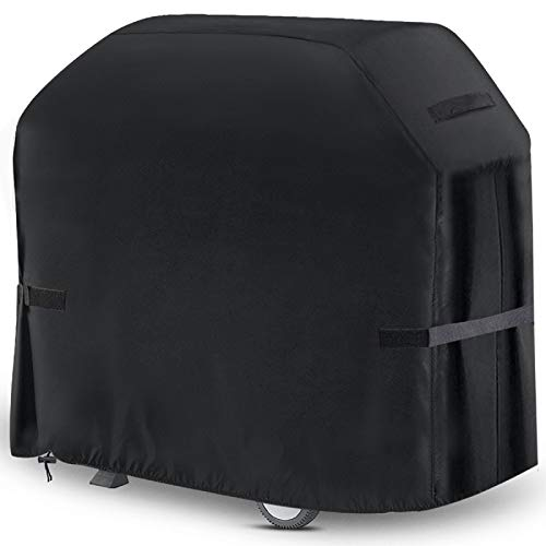 king do way BBQ Grill Cover 58'' Heavy Duty Waterproof BBQ Grill Cover with Handle, Straps, Storage Bag Windproof Buckle and Shrink Rope, for Weber, Brinkmann, Char-Broil, Holland