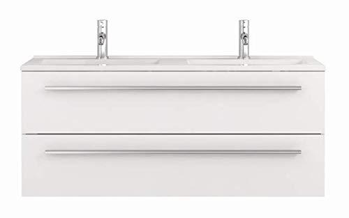 Waschtischunterschrank mit Waschbecken Libato 60 90 120 cm - weiß anthrazit Eiche grau Hochglanz - Badmöbel Badezimmermöbel Unterschrank hängend [Sieper Qualität aus Deutschland] (120, weiß)