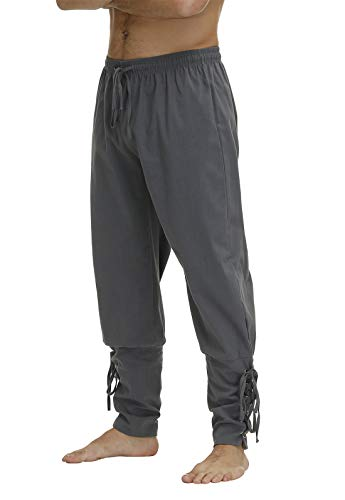 Men's Ankle Banded Cuff Renaissance Pants Medieval Viking Navigator Trousers Pirate Cosplay Costume with Drawstrings Deep Grey-XL
