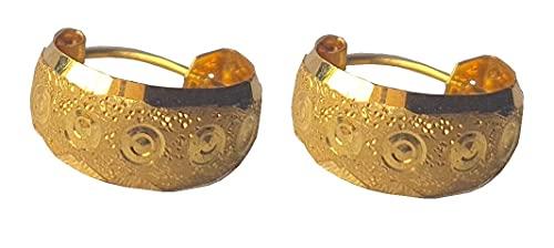 Sólido puro de 18 quilates 18 quilates amarillo oro fino botón tallado del diseño del aro en altura el 1.3CM Anchura-1.1CM para las mujeres, las niñas, niños, para hombre Bali