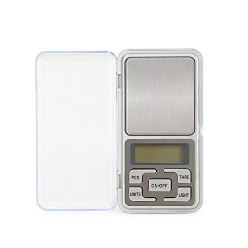 Básculas electrónicas para el hogar Báscula de joyería de alta precisión Mini bolsillo llamado Básculas de palma portátiles 0.01G - Plata Versión en inglés200G / 0.01G
