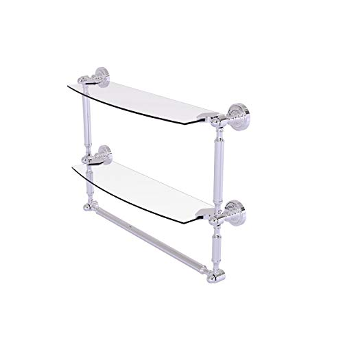 Allied Brass DT-34TB/18 Dottingham Collection 18 Inch Two Tiered Integrated Towel Bar Glass Shelf, Polished Chrome