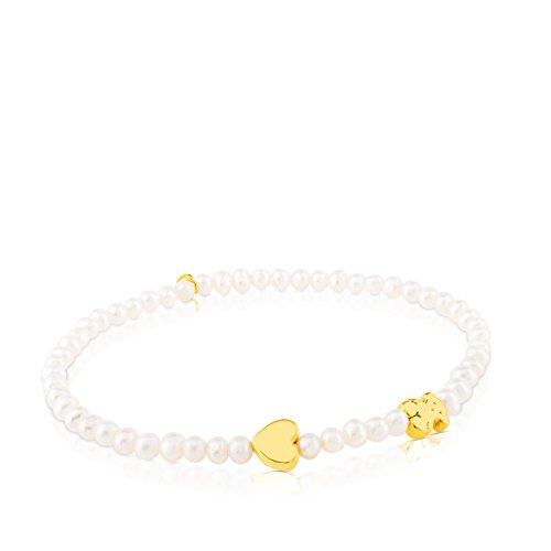 Pulsera elástica TOUS Sweet Dolls XXS en oro amarillo de 18kt y perlas cultivadas de 0,3 cm