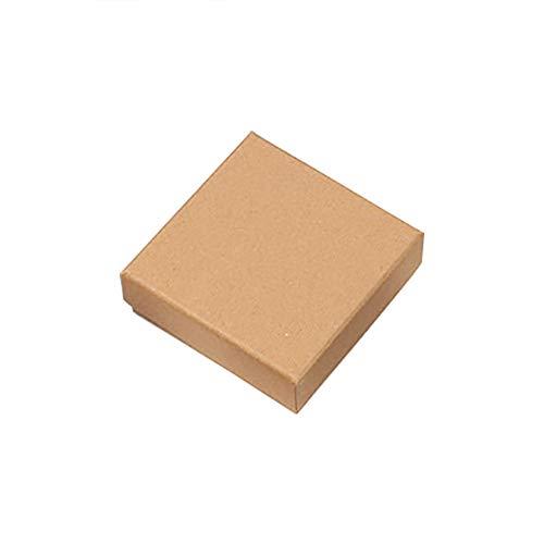 JUNGEN Papier Kraft Boîte à Bijoux Carré Coffret Carton d'emballage Cadeau DIY Boîte de Rangement Boîte à Bonbons Coffret à Bijoux Boîte à Pain 10 * 10 * 3.5cm (Kaki)