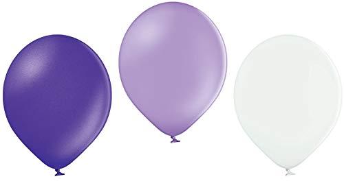 Ballonheld 50 Luftballons 3 Farben: Flieder, weiß, royal lila Qualitätsballons 27 cm Ø (Standardgröße B85)