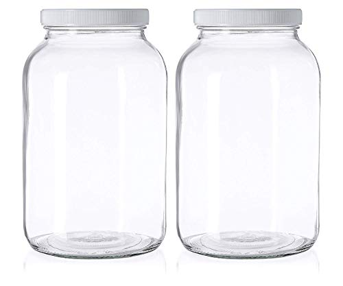 2 Pack - 1 Gallon Mason Jar - Glass Jar Wide Mouth with Airtight Foam Lined Plastic Lid - Safe Mason Jar for Fermenting Kombucha Kefir - Pickling, Storing and Canning - By Kitchentoolz