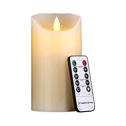 SHENMU Led Candle LED Candles, Flameless Candles 180 Hours Decorative Candle Columns (17.5 cm, Ø 7,5cm each).10-key remote control with 24 hours timer function