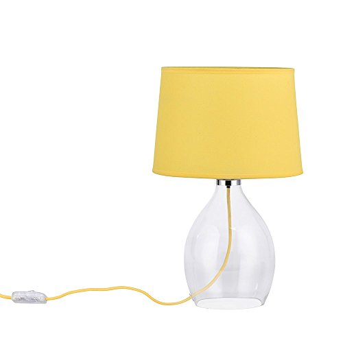 Glazen tafellamp, textiel geel, hoogte 41 cm JAR