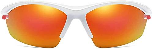 Squash bril Half Frame Outdoor Sports PC Substantiële Zonnebril Oranje Lens White/Orange Frame mannen gepolariseerde Sport Drive Zonnebrillen Outdoor bril (Color : White)