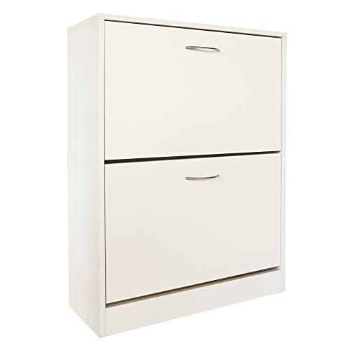 KD ModySimble Tipping Shoe Cabinet 2-Drawer Horizontal Shoe Rack Storage Organizer Wooden Shoe Cabinet