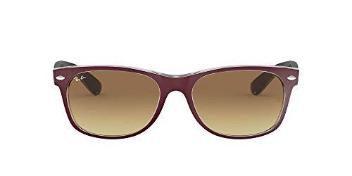 Ray Ban RB2132 New Wayfarer Sonnenbrille 52 mm, Rot (rot transparent 605485), 52 mm