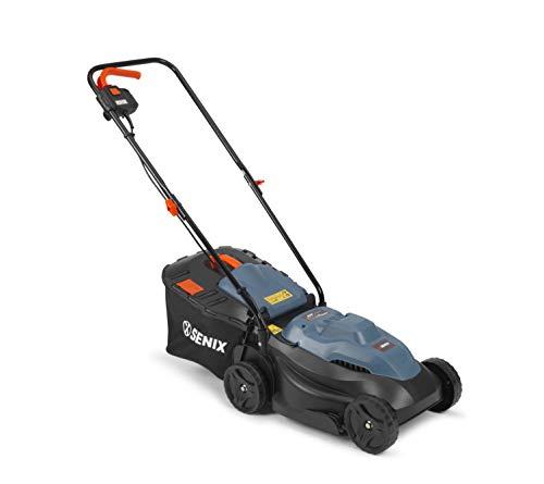SENIX kompakter Elektro-Rasenmäher, Mäher für einen gepflegten Rasen, 1000 W Elektromotor, 32 cm Schnittbreite für kleine Flächen, mit 30 L Fangkorb & Füllstandsanzeige