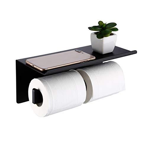 Amazon Brand - Umi Portarrollos Para Papel Higiénico Doble Estante Para Teléfono Soporte Para Papel Higiénico Doble Accesorios Baño Acero Inoxidable 304 Negro Mate, BPH216S2DG-BK