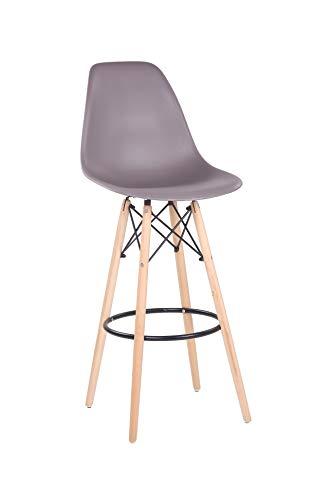 Designer Barhocker Barstuhl Hochstuhl Mila mit Sitzschale aus Kunststoff in Taupe