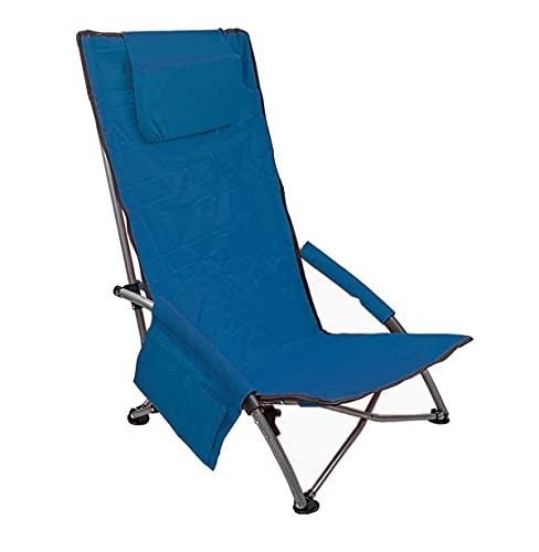 Low Sling Beach Chair Folding Light Portable with headrest Pocket(Plus-high Blue 21, Plus high)