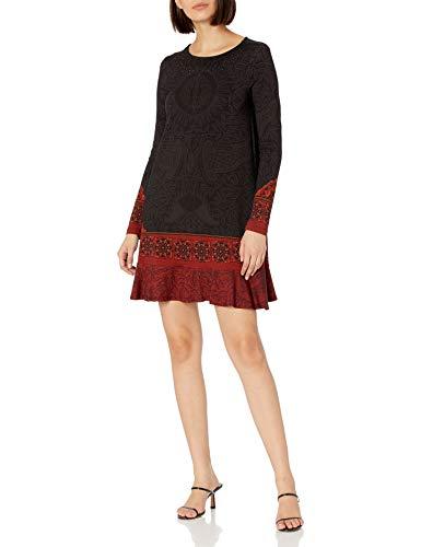 Desigual Vest_Nagoya Vestido Casual, Negro, XL para Mujer