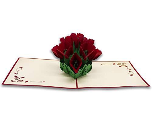Biglietto Di Auguri Con Origami, Mazzo Di Rose