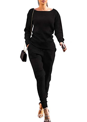 VNVNE Womens Fall Rib-Knit Pullover Sweater Top & Long Pants Set 2 Piece Outfits Tracksuit (Black, L)