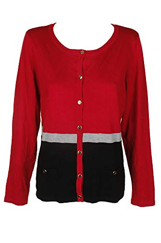 Price comparison product image Karen Scott Colorblocked Cardigan (New Red Amore Combo,  XL)