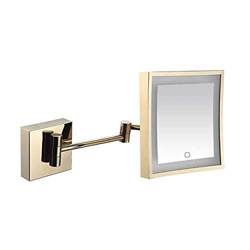 SGSG Productos para el hogar/baño Espejo de Maquillaje montado en la Pared, Pantalla táctil de Espejo de baño de Pared de Aumento de Acero Inoxidable, Rotación giratoria de 360 Grados, 8 pulg