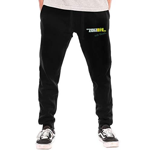 ouw Mens Jogger Sweatpants Subway Zombies Eat Flesh Elastic Waist Pajama Pants with Pockets Black