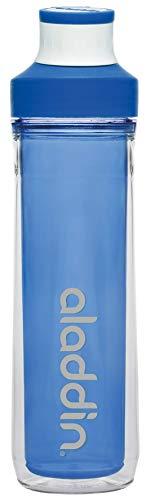 Aladdin Active Hydration Doppelwandige Sport-Trinkflasche, 500ml, Blau, Auslaufsicher, mit Fingerschlaufe, Wasserflasche Sportflasche