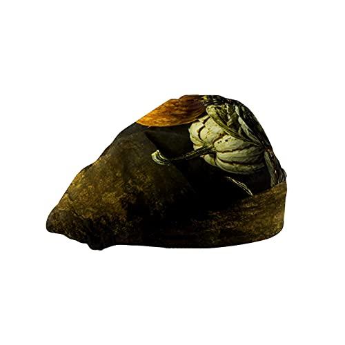 Gorra de mujer para cabello largo con banda elástica ajustable para el sudor Gorras de trabajo para hombres bufanda de cabeza impresa 3D sombreros octubre calabaza otoño