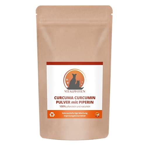 Vitalpfoten Curcuma Curcumin Pulver mit Piperin fertig gemischt für Hunde und Katzen 30g, zur direkten Verfütterung oder für Goldene Paste / Milch, höchste Reinheit und Qualität inkl. Dosierlöffel