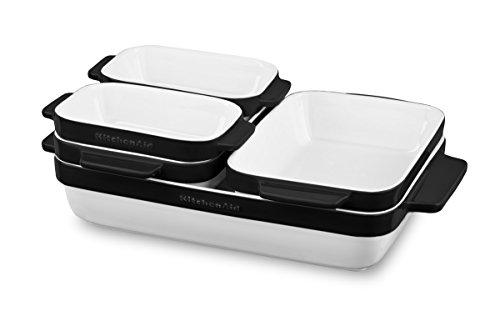 KitchenAid Set aus stapelbaren keramikformen, 5 teilig, schwarz, Keramik, 27 x 44 x 3 cm