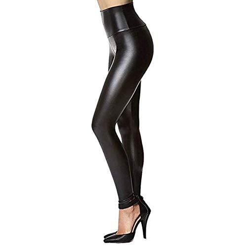 BaZhaHei Mujeres Pu Leggins cuero Skinny Elásticos pantalones Pantalones de mujer elásticos de bolsillo de imitación de cuero de imitación pantalones pitillo cintura alta Medias Pantalones cuero mujer