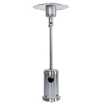 HEXAGO Preminum Stainless Commercial Outdoor Patio Heater, Adjustable Portable Liquid Propane Gas Floorstanding Heater with Wheels, ETL Listed (Stainless Steel, 47,000 BTU)