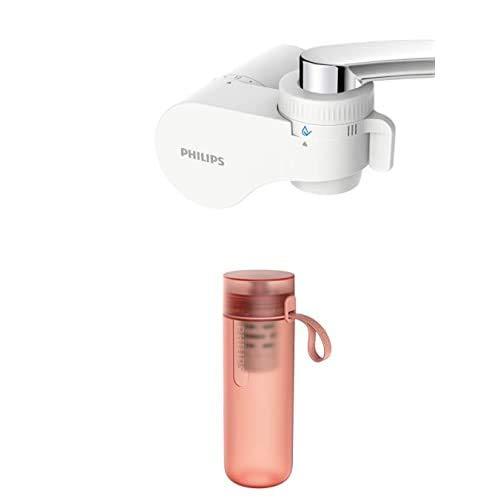Philips - Sistema de Filtración de agua para Grifo AWP3754, Ultrafiltración + Botella Filtro de Agua Go Zero Active AWP2712RDR, Modelo Fitness