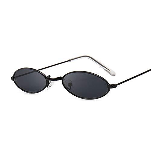 Fashion Oval Metal Round Ray Frame Black Sunglasses Unisex Uv400