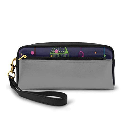 Pencil Case Pen Bag Pouch Stationary,Candles in Night Sketch in with Dots Arabian Motifs,Small Makeup Bag Coin Purse